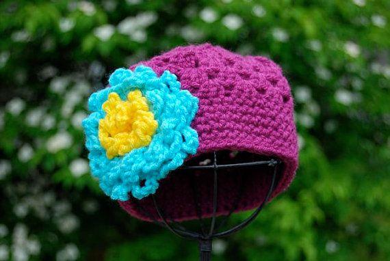 Flower Hat PlumTeal 612 months by kkashmir on Etsy, $23.00