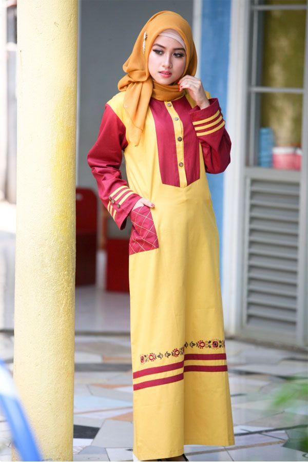 Gamis Bernuansa Kuning Kombinasi Merah Marun Yang Cantik Dilengkapi