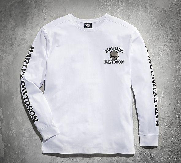 Skull Long Sleeve Tee White | Harley shirts, Harley