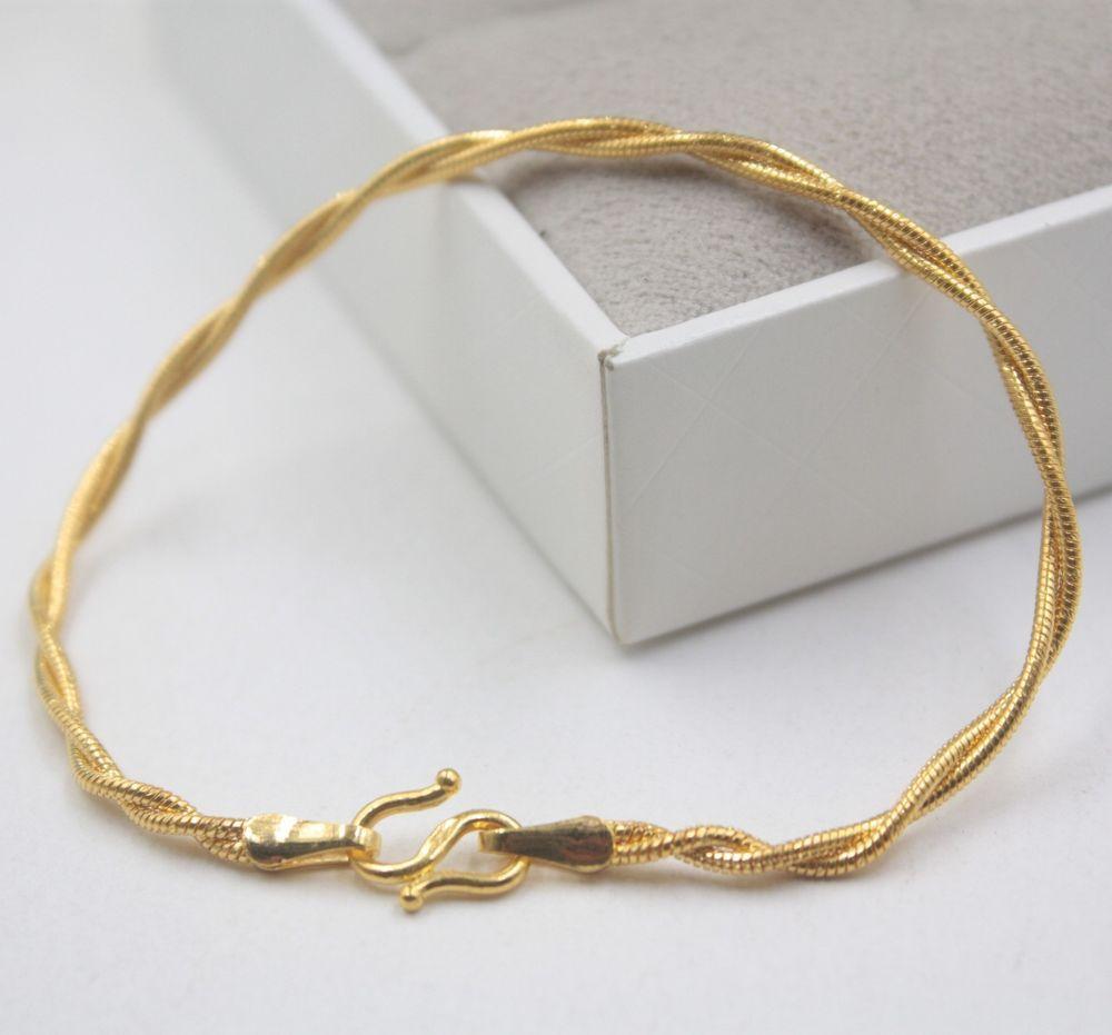 New pure k yellow gold bracelet womanus overlapp unique snake link