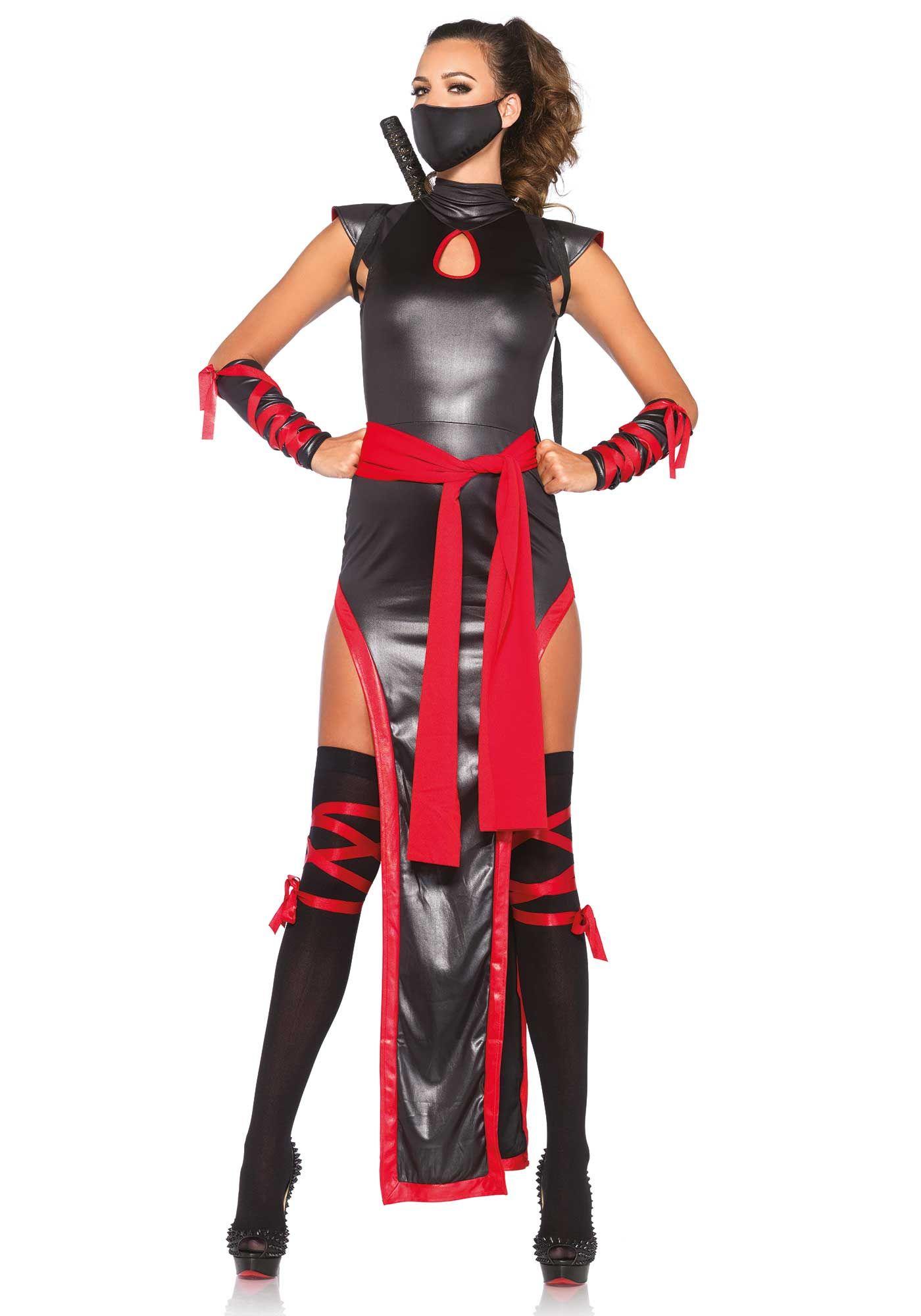 Sexy ninja kämpferin damenkostüm asien schwarz-rot | Schwarz rot ...