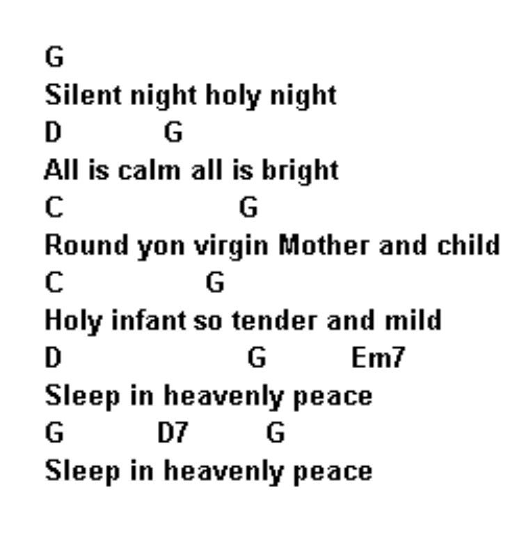 Song Lyrics with guitar chords for Silent Night pinterestcom