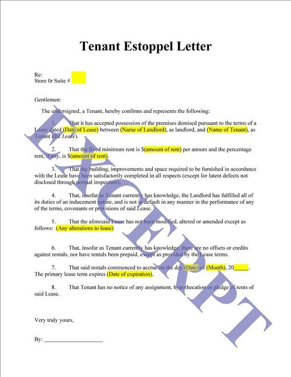 Tenant Estoppel Letter And Certificate Realcreforms Refund Days