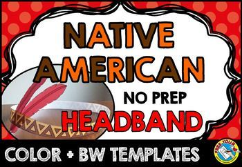 first thanksgiving native american headband crafts color bw