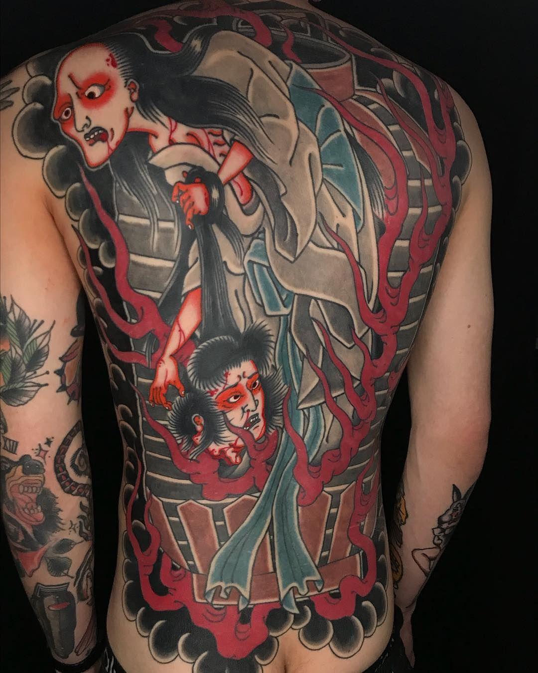 Monster back tattoo by jarrad serafino jserafino to book