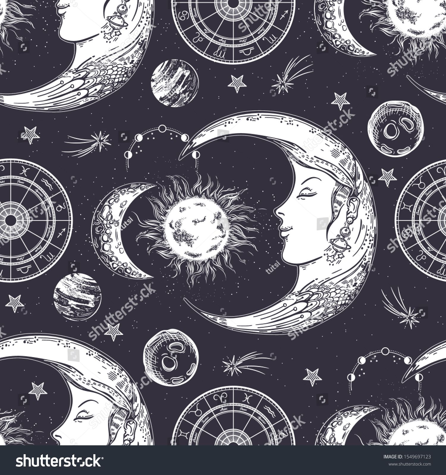 Seamless pattern. Moon face, phases of the moon, sun and crescent ...