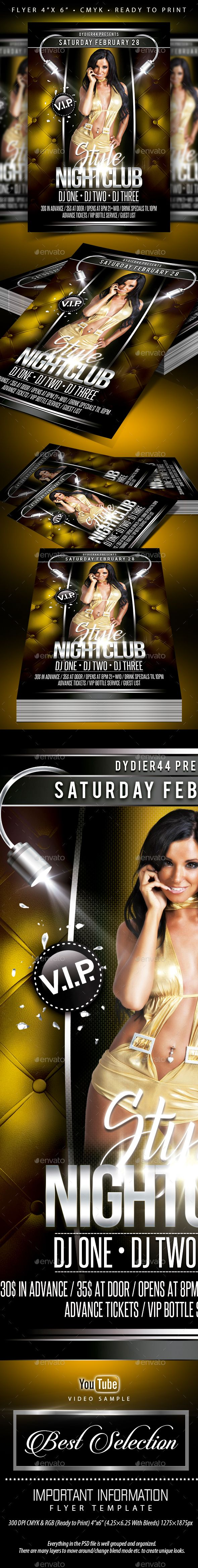 Style Nightclub Flyer Template 4x6 And