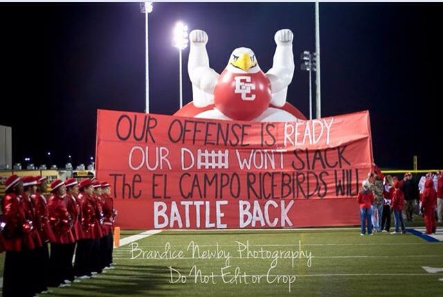 Fridaynightlights El Campo Football Run Through Sign Round1 Cheer Posters Cheerleading Signs Cheer Signs