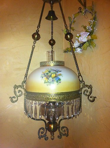 Victorian Antique Brass And Glass Hanging Oil Lamp Chandelier Library Parlor Oil Lamps Victorian Lamps Lamp
