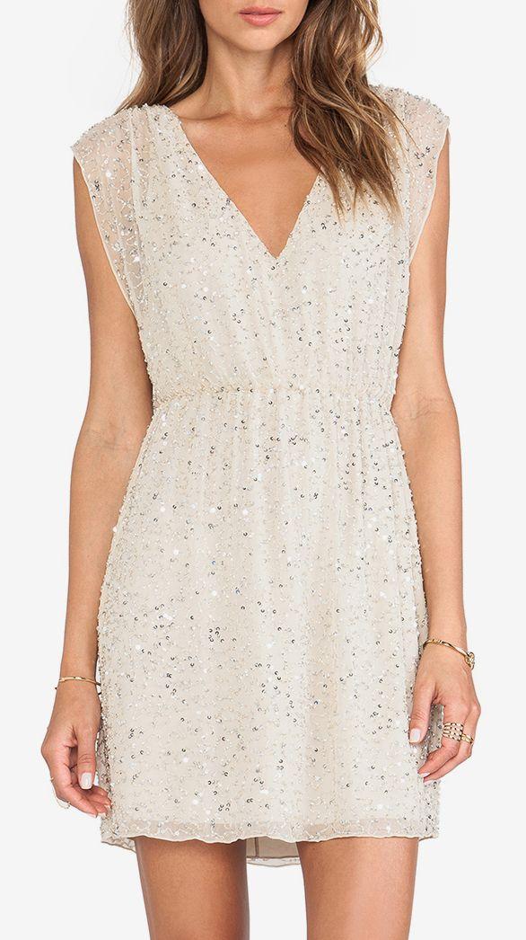 Alice + Olivia Nelson Embellished V Neck Dress in Natural & Silver