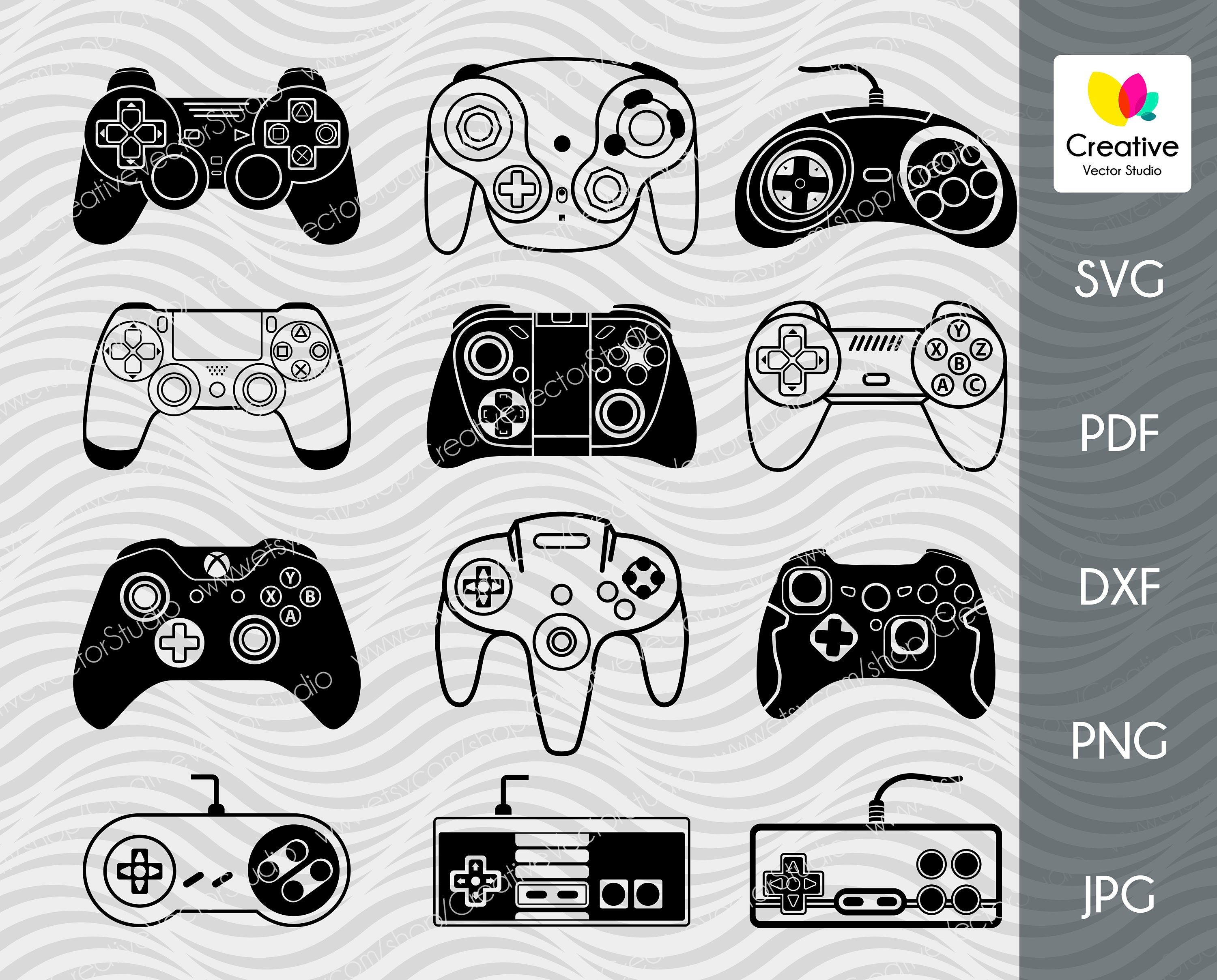 Video Game Controller Svg Bundle Xbox Sega Playstation Gamer Gaming Vector Design Clipart Cricut Silhouette Decal Dxf Pdf Svg Vector Game Etsy Help