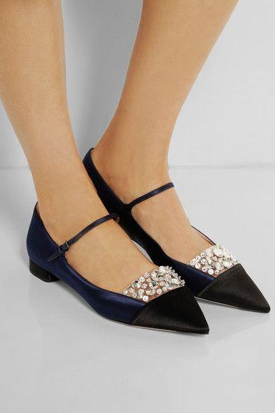 Miu Miu - Crystal-embellished satin point-toe flats. Designer ShoesTop ...
