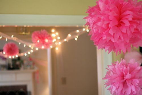 tulle around twinkle lights