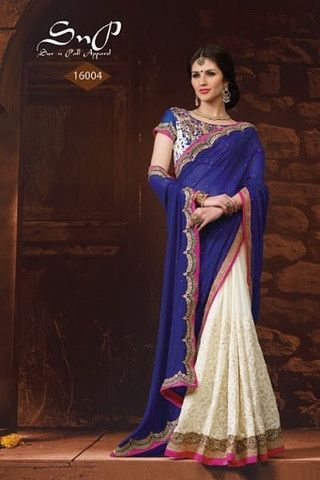 Blue With White Georgetet Embroidery Sarees Online ,Veeshack.com   Fashion for the World - 1