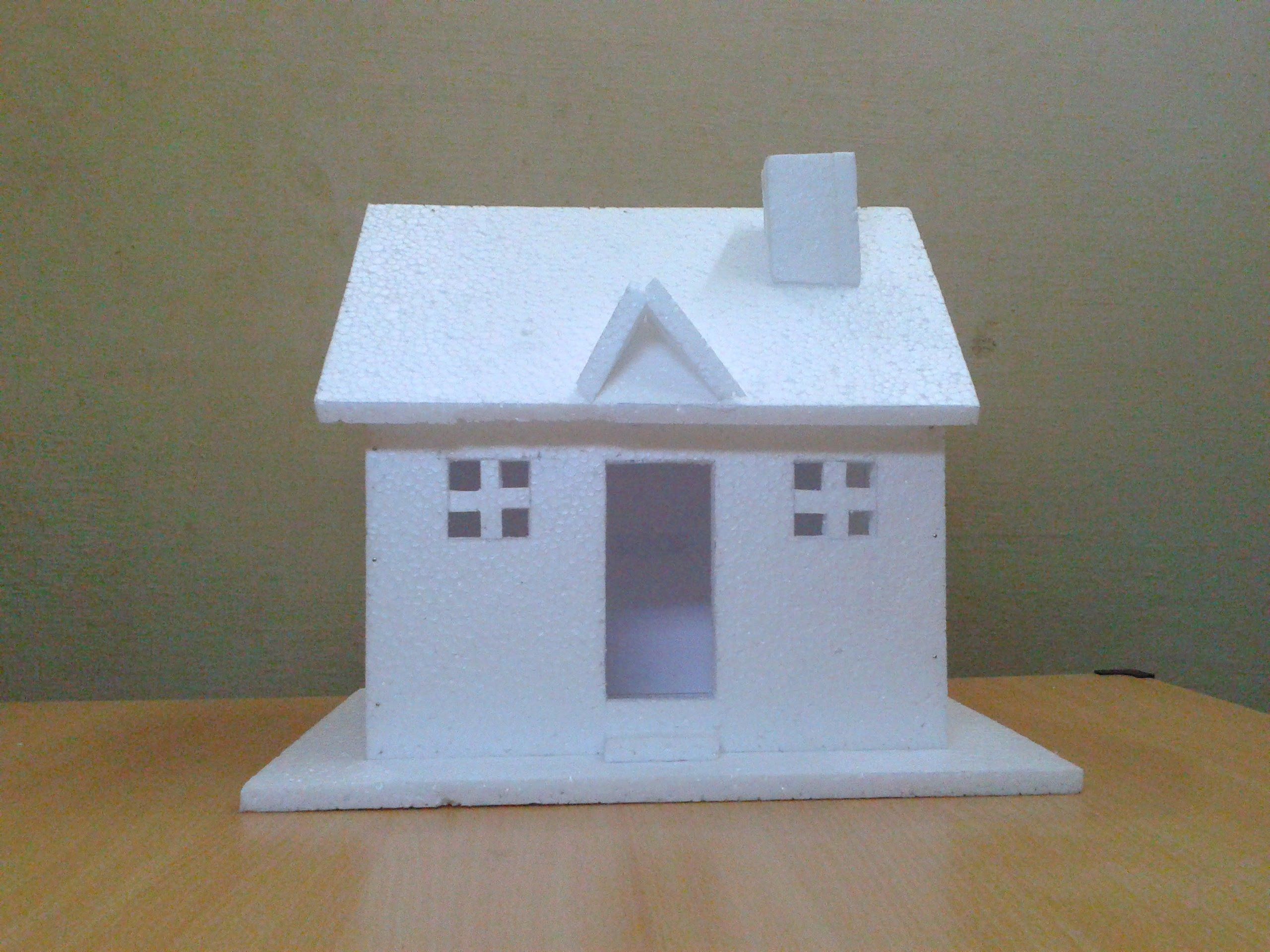 House Craft Ideas For Kids Part - 36: How To Make A Small Thermocol House Model: Craft Ideas For Kids