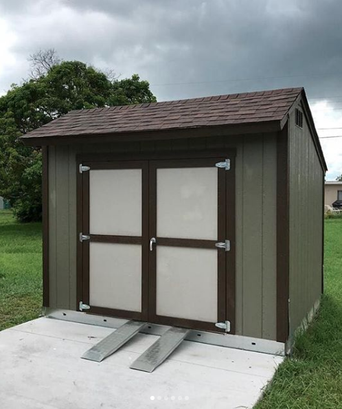 Double Doors And Ramps Everything You Need To Move Heavy Tools In And Out Of Your Backyard Shed Our Stor Backyard Storage Sheds Backyard Shed Backyard Storage
