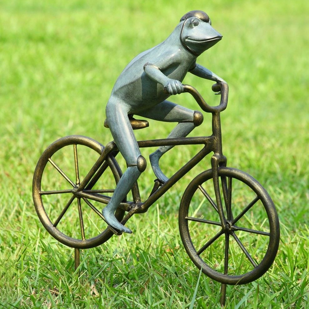 Elegant Frog On Bicycle Garden Statue
