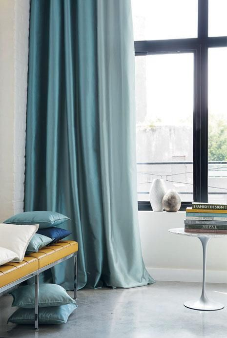 Interior _ Fabric _ Curtain The Farm House Pinterest - cortinas azules