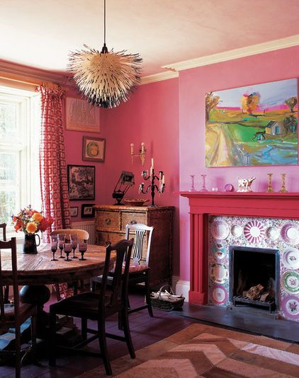 Whimsey of ceramic fireplace surround and chandelier in a classic ...
