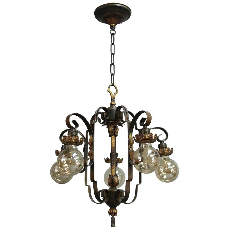 Antique spanish revival downlight chandelier with acanthus motif antique spanish revival downlight chandelier with acanthus motif arubaitofo Images