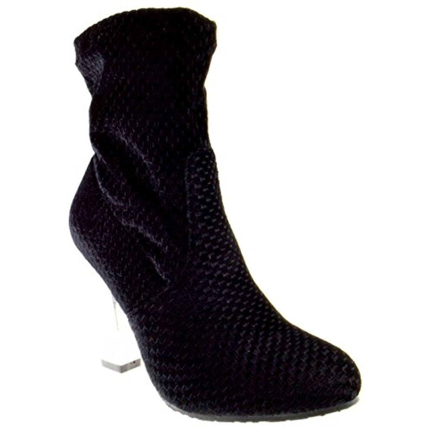 Polite 12 Womens Block Mirror Heel Mesh Ankle Booties Black