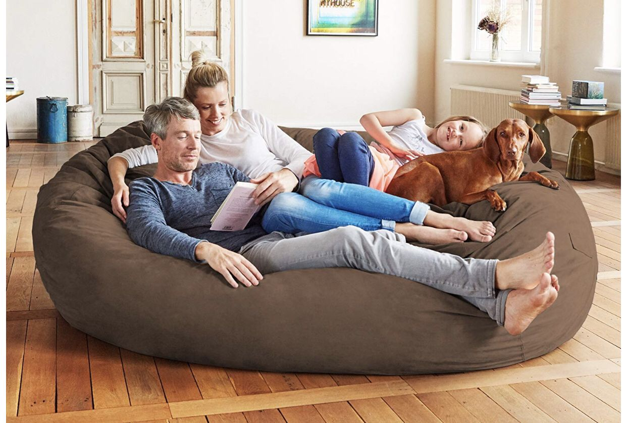 The Lumaland Luxury Bean Bag Chair Is A Real Big Size Sofa A 7 Foot Lounger To Fit All Kinds Of Liv Bean Bag Chair Bean Bag Living Room Luxury Bean Bag