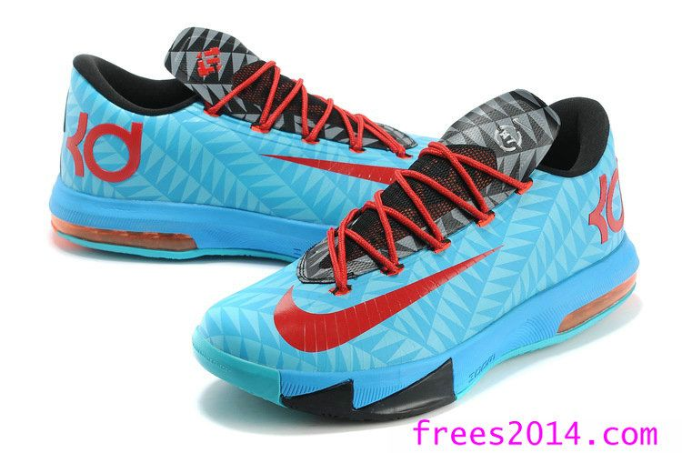 Nike KD 6 N7 Aqua Red Total kevin durant sneakers, $59 for 51% off