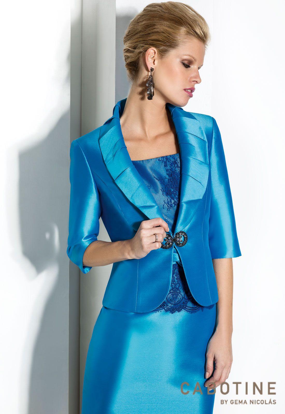 d7f3c20ea5 DONNA 6178 Conjunto vestido de fiesta con chaqueta en mikado y encaje con  detalle de cristal en broche