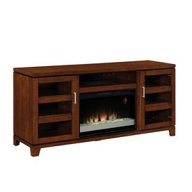 Allen Roth 64 In W Auburn Wood Media Console Electric Fireplace