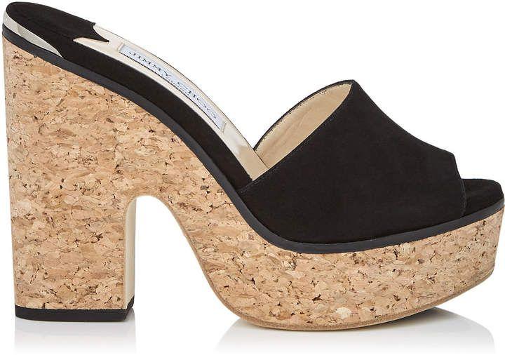 1e8c6b25bbb5 Jimmy Choo DEEDEE 125 Black Suede Sandal Wedges  ShoesForWomen ...