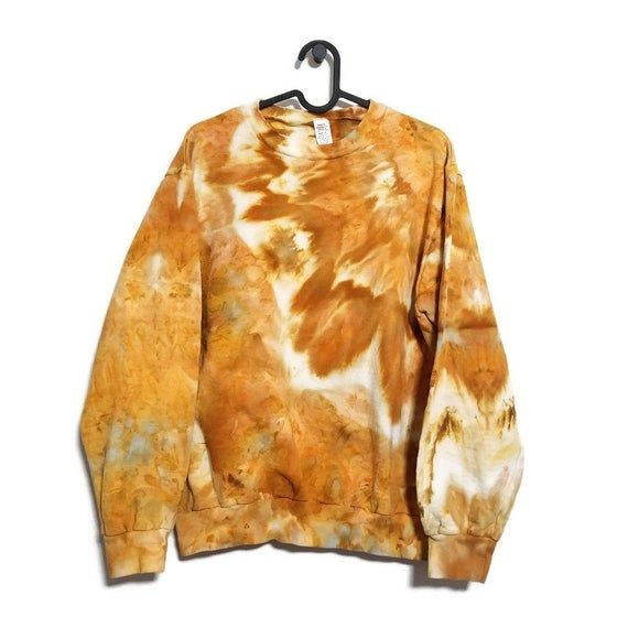 Crew Neck Sweatshirt Hand Dyed in HARVEST: Tie Dye, Bohemian Hoodie, Vacation, Sweater Weather, Ice Dyed Clothing