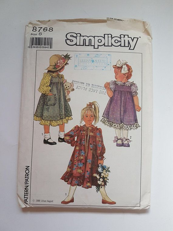 Childrens\' Sewing Pattern Size 5 Empire Waist Dress and Jumper w ...