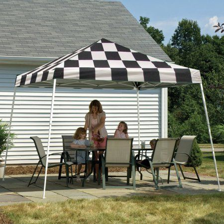 12' x 12' Sport Pop-up Canopy Slant LegChecker Flag Cover, Multicolor