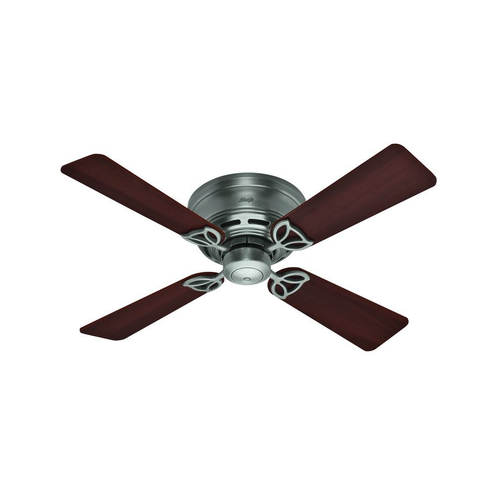 42 Inch Hunter Fan Low Profile Antique Pewter Ceiling Without Light