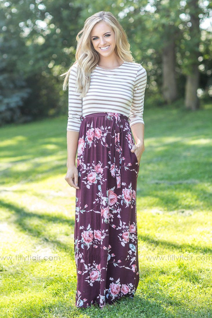 Downtown romance burgundy floral taupe striped dress products