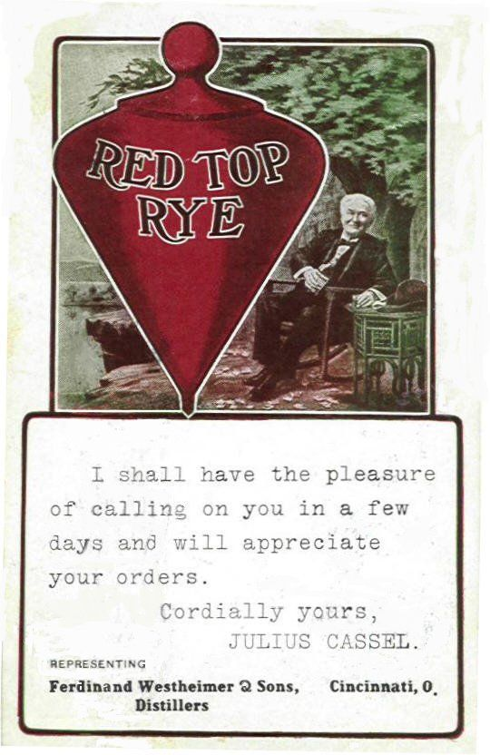 Red Top Rye Brand Ambassador calling card.
