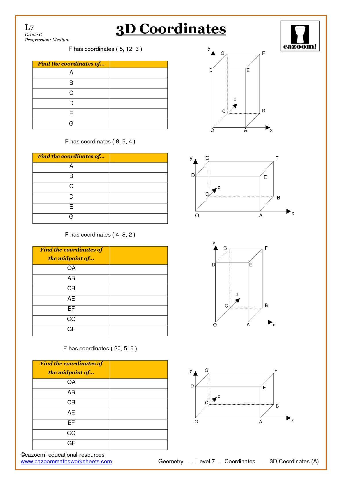 Geometry Coordinate Worksheet ks4 and ks3