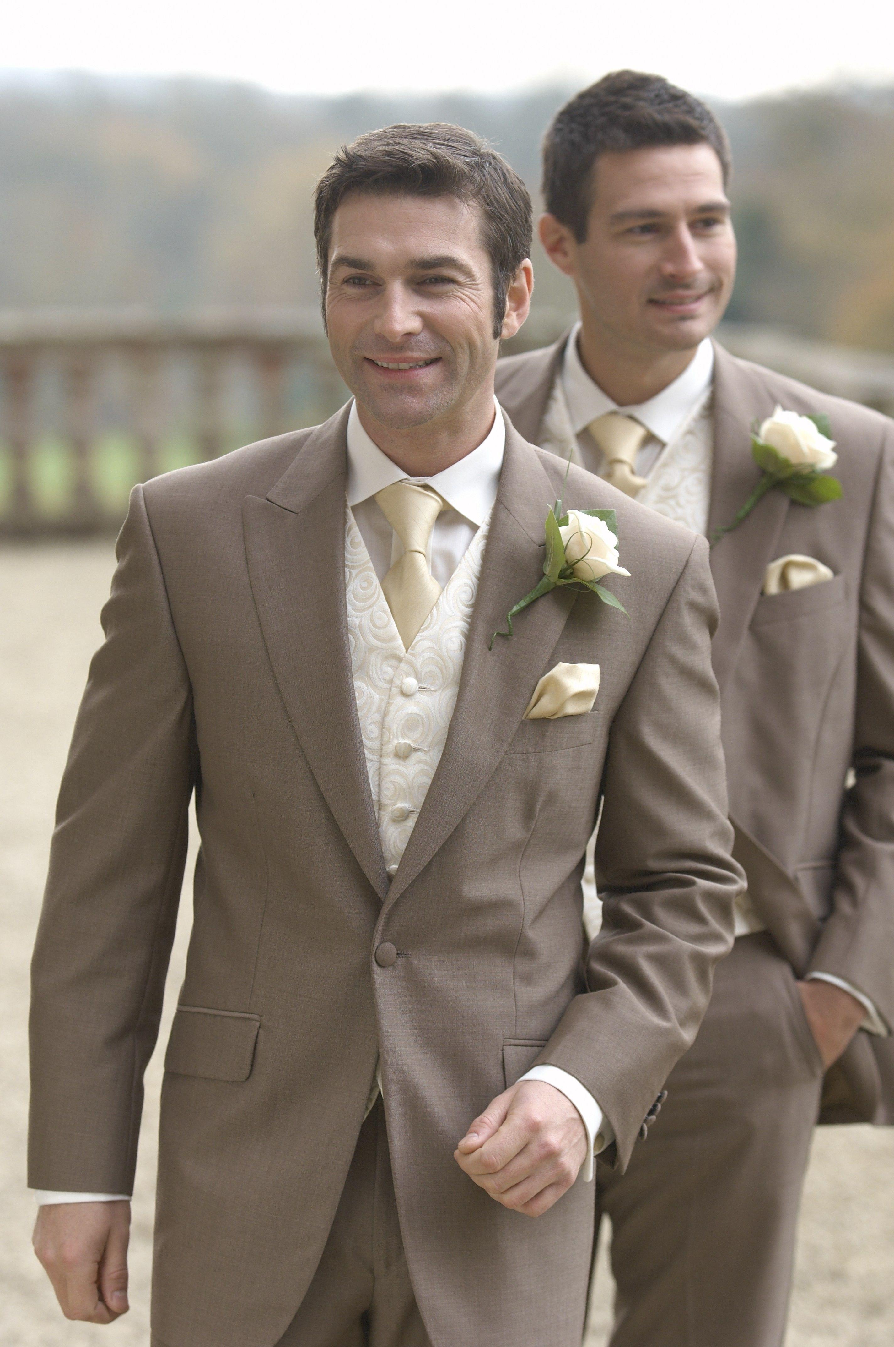 Dark Khaki Wedding Suits Groom And Groomsmen