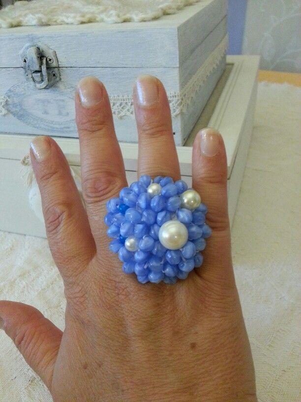 Anello crochet e perline