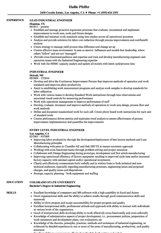 Industrial Engineer Resume Keywords in 2020 Resume