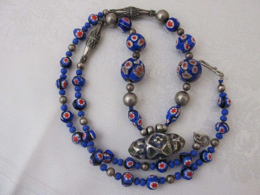 Vintage Art Deco Millefiori Venetian Pendant Necklace Cobalt Blue Red Silver  #MillefioriVenetianGlass