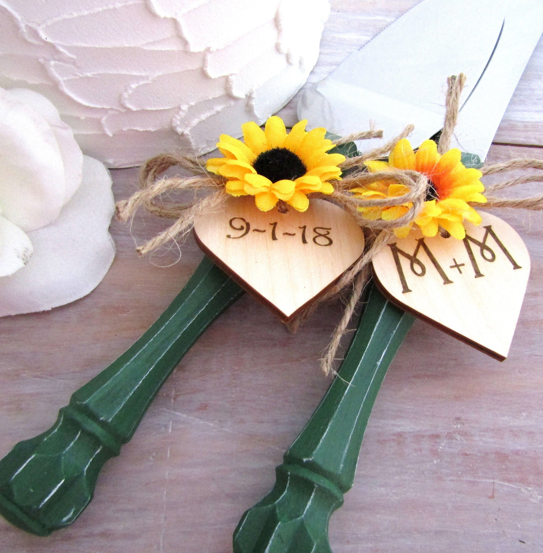 Rustic Chic Wedding Cake Server And Knife Set, Dark Green