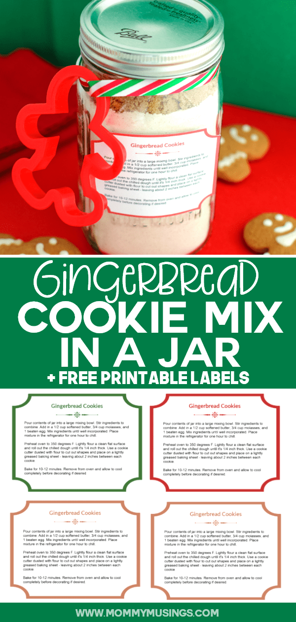 Gingerbread Cookie Mix in a Jar with Free Printable #homemadechristmasgifts