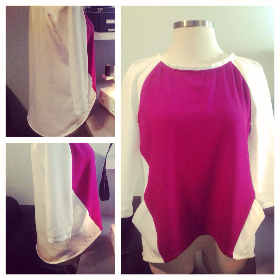Raglan high low blouse with side pockets.