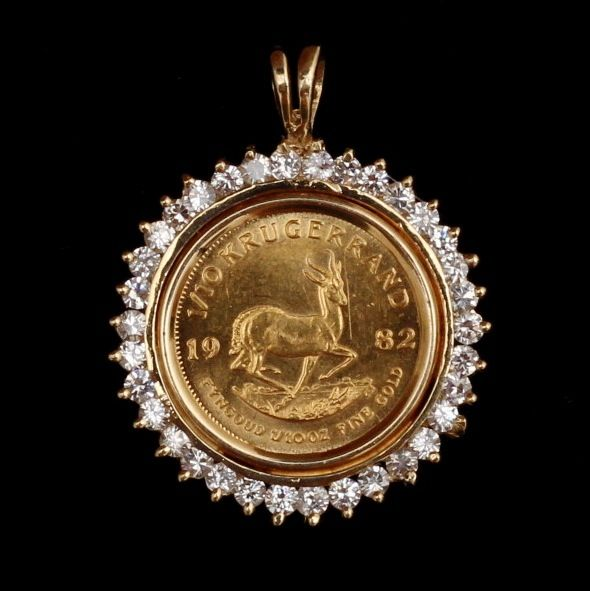 1982 Krugerrand 1 10 Gold Coin Set In 14k Yellow Gold And Diamond Pendant Gold Coin Jewelry Gold Pendants For Men Coin Jewelry