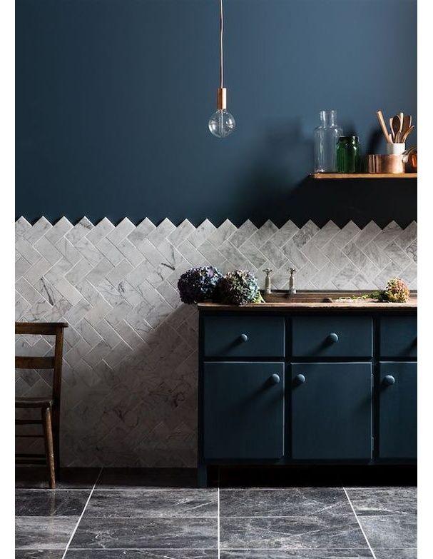 Une cuisine bleue foncée D Keuken! Pinterest Cuisines bleu - Peindre Un Carrelage De Cuisine