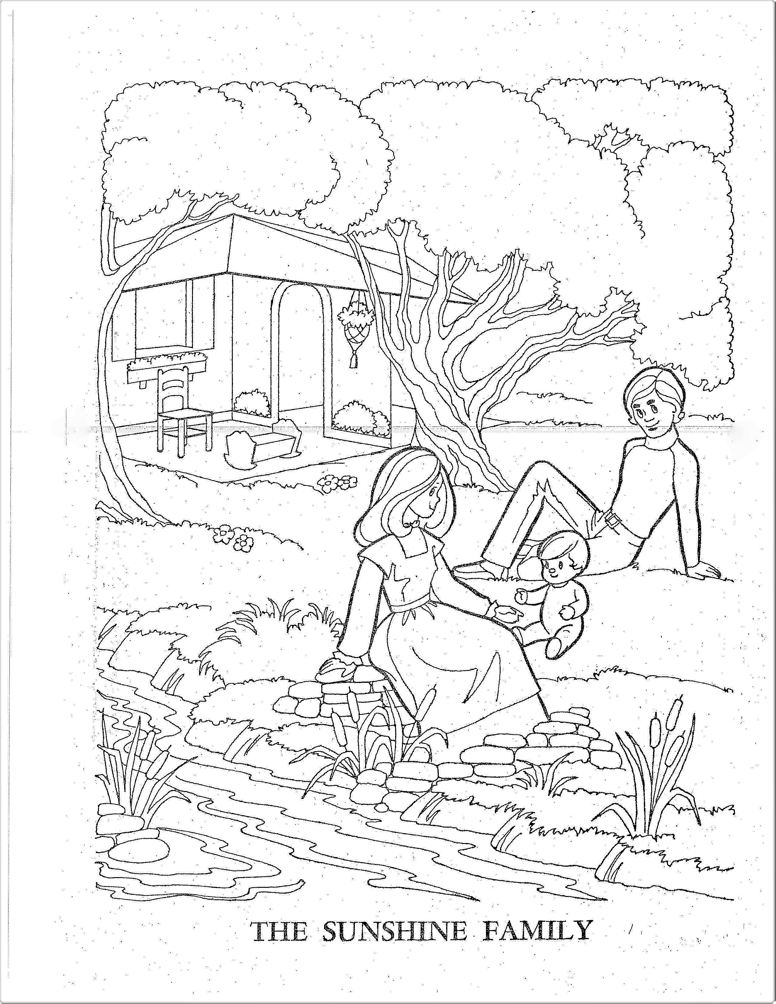 70s Sunshine Family Coloring Pages - Picnic in the Yard | Cute ...