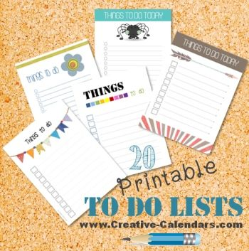 20 free printable to do lists. Instant download!