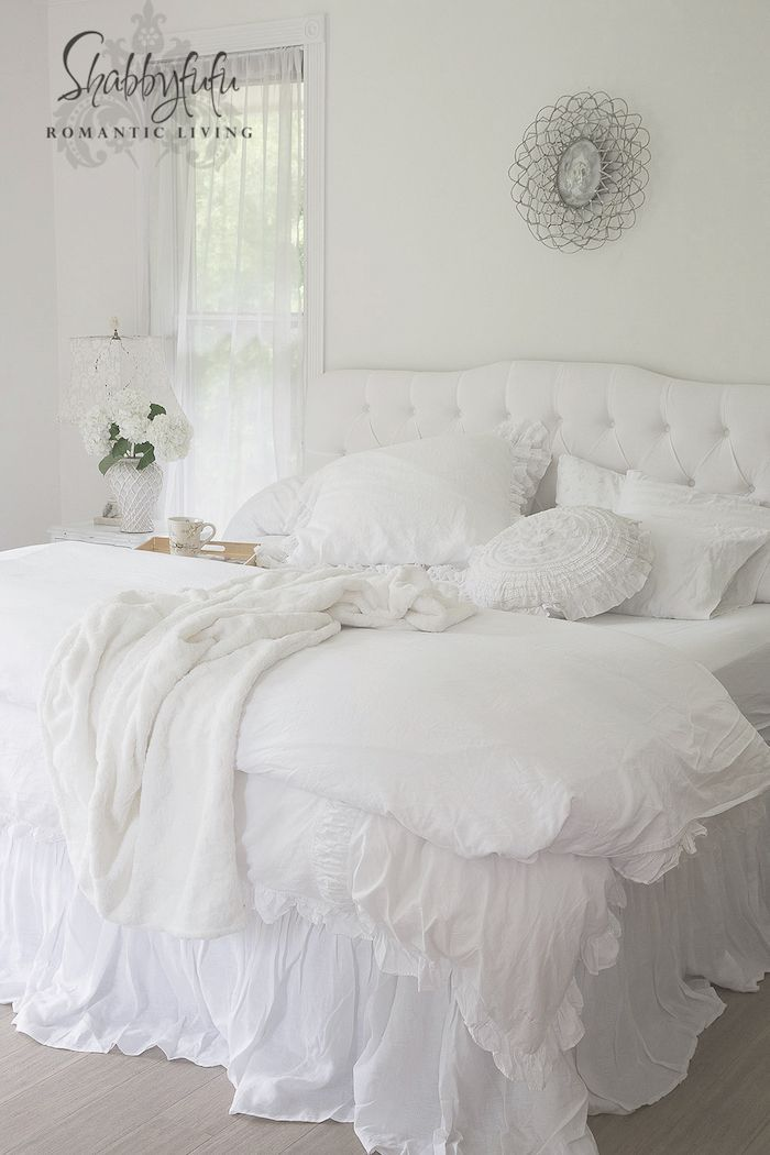 Beautiful Linen Bedskirt And White Nightstands Shabby Chic Room Shabby Chic Bedding Shabby Chic Bedrooms