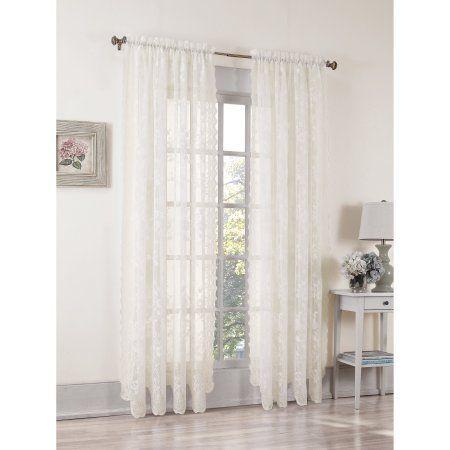 No 918 Alison Sheer Lace Curtain Panel Walmart Com Lace